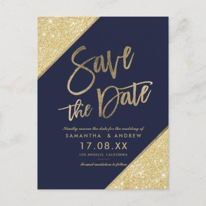 Gold glitter script navy blue save the date announcement