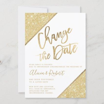 Gold glitter script white chic change the date save the date