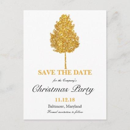 Gold Glitter Tree Christmas Party Save The Date Announcement