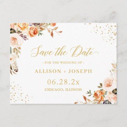 Gold Glitters Autumn Floral Wedding Save the Date Invitation