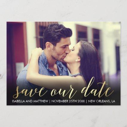 Gold Gradient Save Our Date   Custom Photograph Save The Date