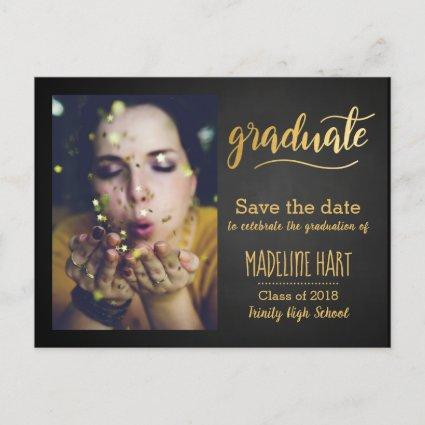 Gold Graduate | Chalkboard Save The Date Photo Announcements Cards