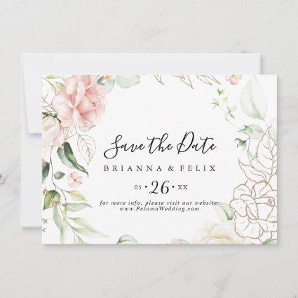 Gold Green Foliage Floral Horizontal Wedding Save The Date