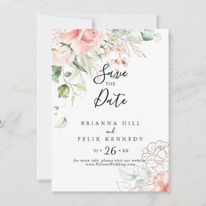 Gold Green Foliage Floral Wedding Save The Date