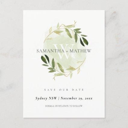 GOLD GREEN FOLIAGE WATERCOLOR WREATH SAVE THE DATE ANNOUNCEMENT