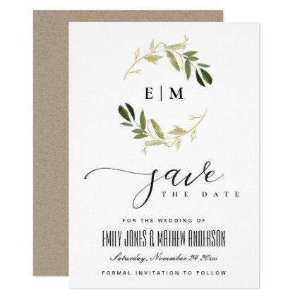 GOLD GREEN FOLIAGE WATERCOLOR WREATH SAVE THE DATE INVITATION