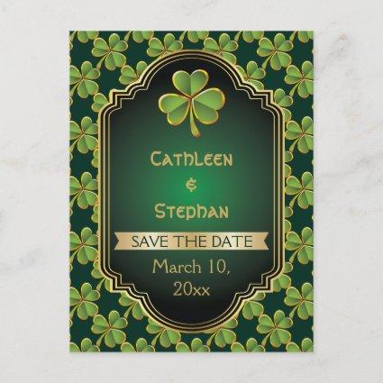 Gold, green Irish clover wedding Save the Date Announcement