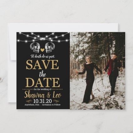 Gold Halloween Skull Save The Date
