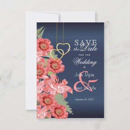 Gold Heart and Coral Flowers - Save The Date