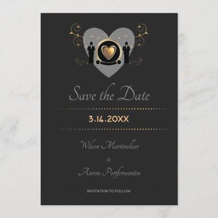 Gold Heart Male Wedding | Save the Date