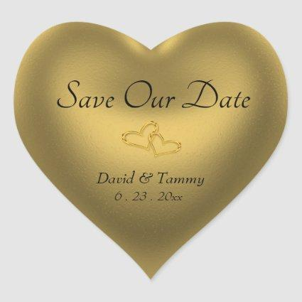 Gold Heart Save Our Date Heart Sticker