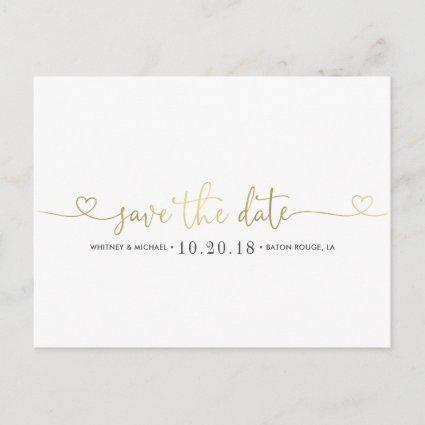 Gold Heart Save the Date Announcement
