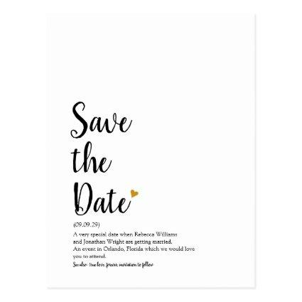 Gold Heart Script Save the Date Definition