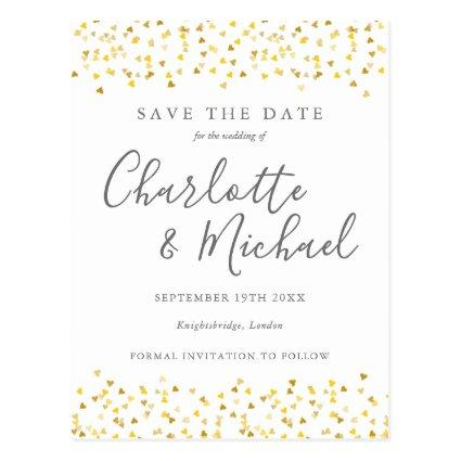 Gold Hearts Confetti Signature Save the Date Card