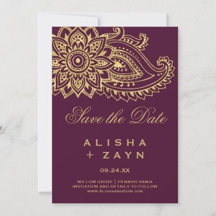 Gold Indian Paisley Save the Date Card