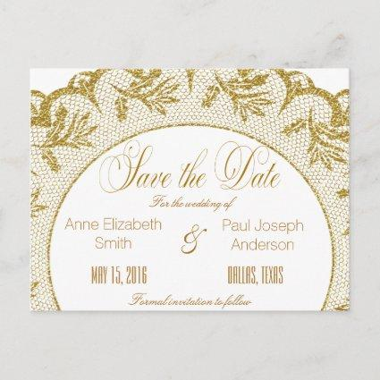 Gold lace Save the Date Announcement