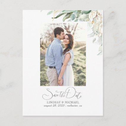 Gold Leaf Greenery Save the Date Photo Announcement