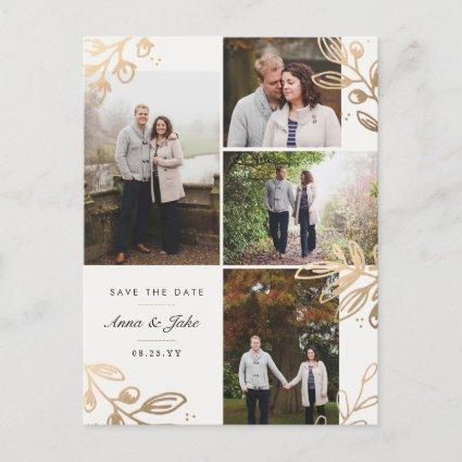 Gold Leaves 4 Photo Save the Date Announcement