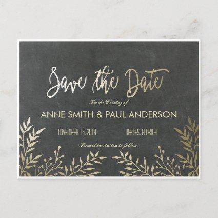 Gold leaves and chalkboard Save the Date Announcement