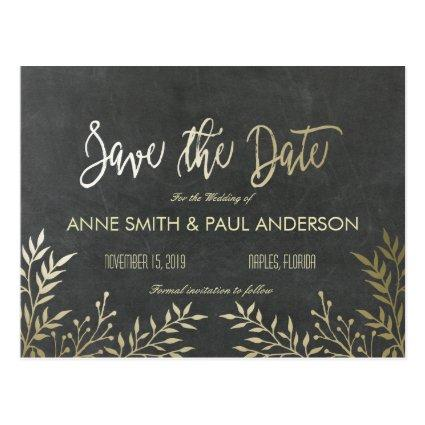 Gold leaves and chalkboard