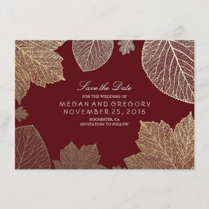 Gold Leaves Burgundy Marsala Save the Date