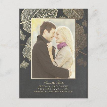 Gold Leaves Fall Photo Save the Date Announcement