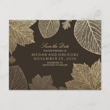 gold leaves fall save the date announcement