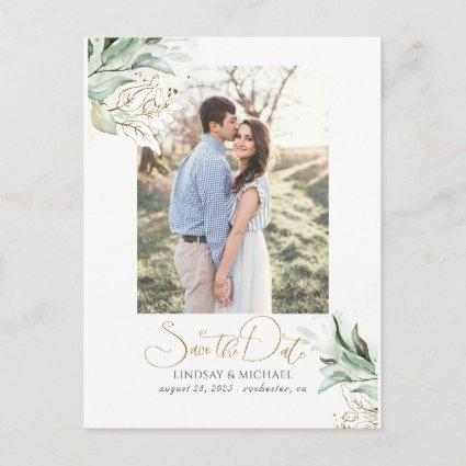 Gold Leaves Greenery Save the Date Photo Announcement