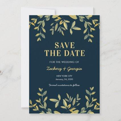 Gold Leaves Save the date wedding invitations