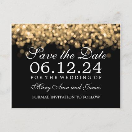 Gold Lights Elegant Wedding Save The Date Announcement