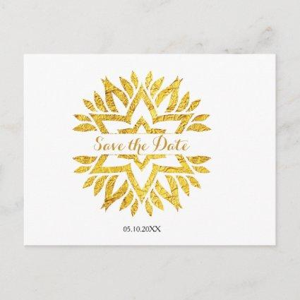 Gold Look Star Mandala Bat Mitzvah Save the Date Announcements Cards