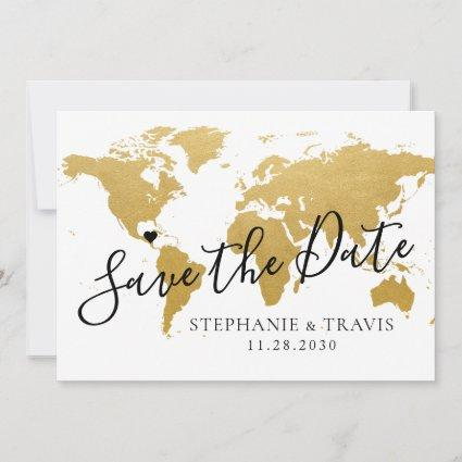 Gold Map Destination Wedding Save the Date Card