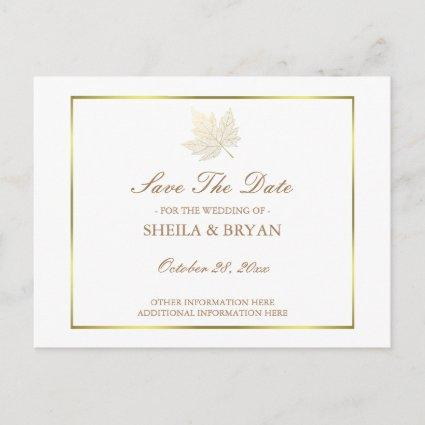 Gold Maple Leaf Save The Date Post Card