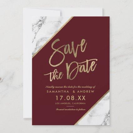 Gold marble script burgundy save the date