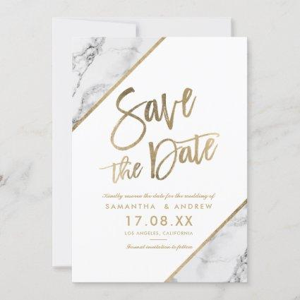Gold marble script chic white save the date