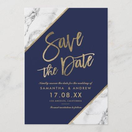 Gold marble script navy blue save the date