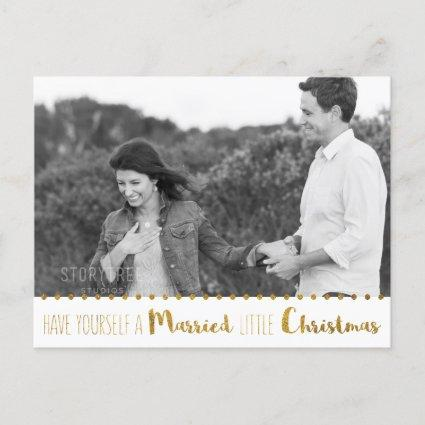 Gold, Marry and Bright Christmas Save the Date Announcements Cards