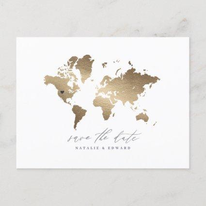 Gold metallic world map wedding announcement