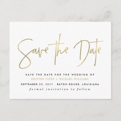 Gold Modern Save the Date Announcements Cards