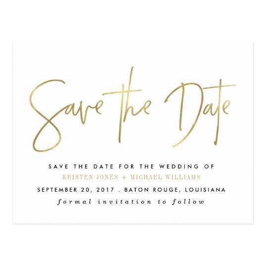 Gold Modern Save the Date Cards