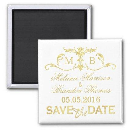 Gold monogram Save the Date magnets