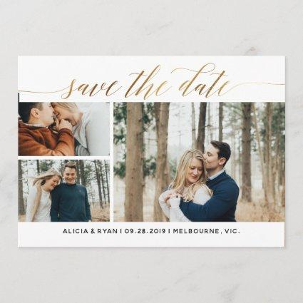 Gold multiple photos save the date
