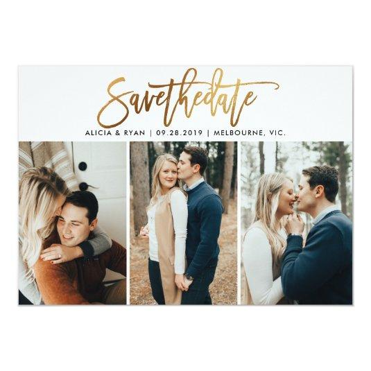 Gold multiple photos save the date card