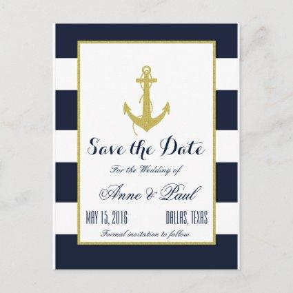 Gold Nautical Save the Date Announcement