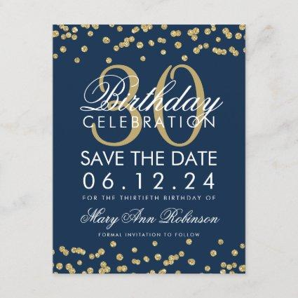 Gold Navy Blue Save Date 30th Birthday Confetti Save The Date