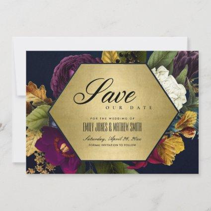 GOLD NAVY VINTAGE RETRO BURGUNDY OCHRE FALL FLORAL SAVE THE DATE