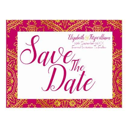 Gold Ornate Save the Date Cards