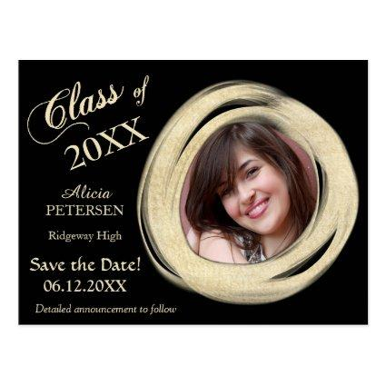 Gold Paint Brush Frame Save the Date Graduation