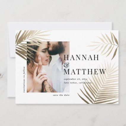 Gold palm leaf save the date photo wedding