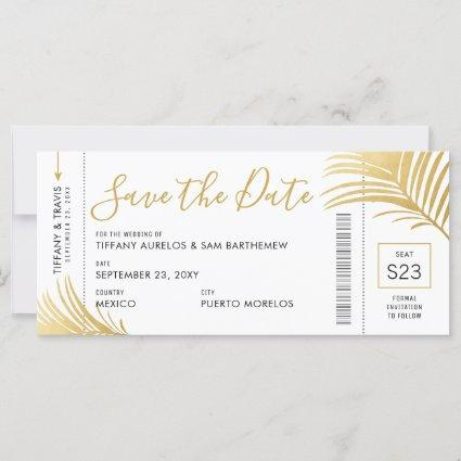 Gold Palm Tree Boarding Pass Beach Save the Date